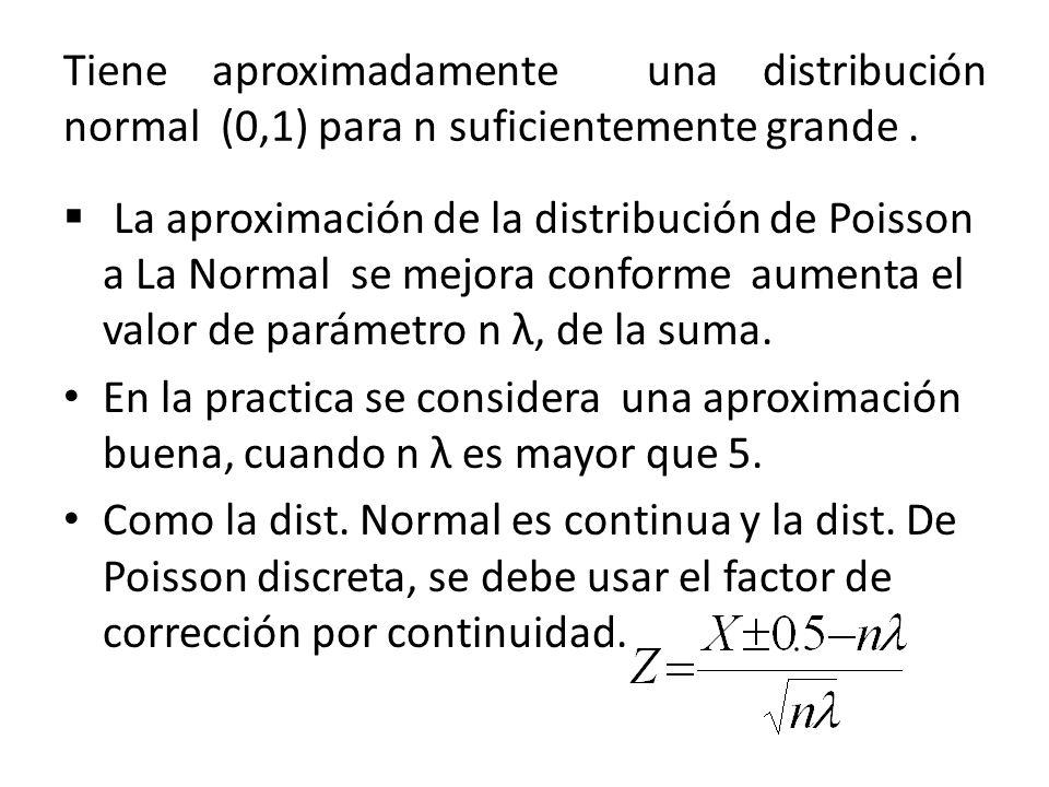 Tiene aproximadamente una distribución normal (0,1) para n suficientemente grande .