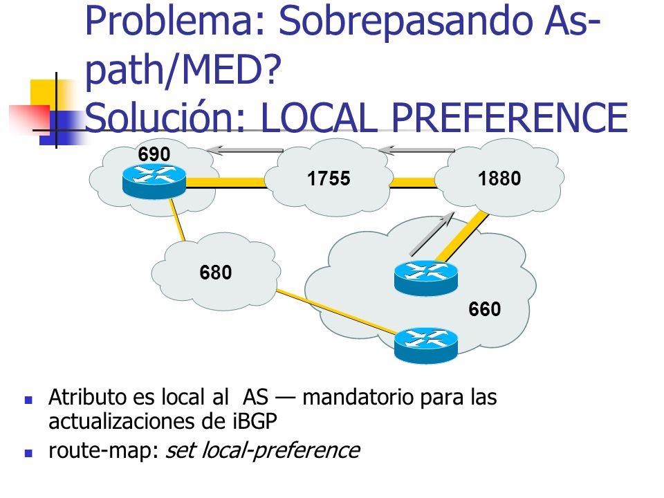 Problema: Sobrepasando As-path/MED Solución: LOCAL PREFERENCE