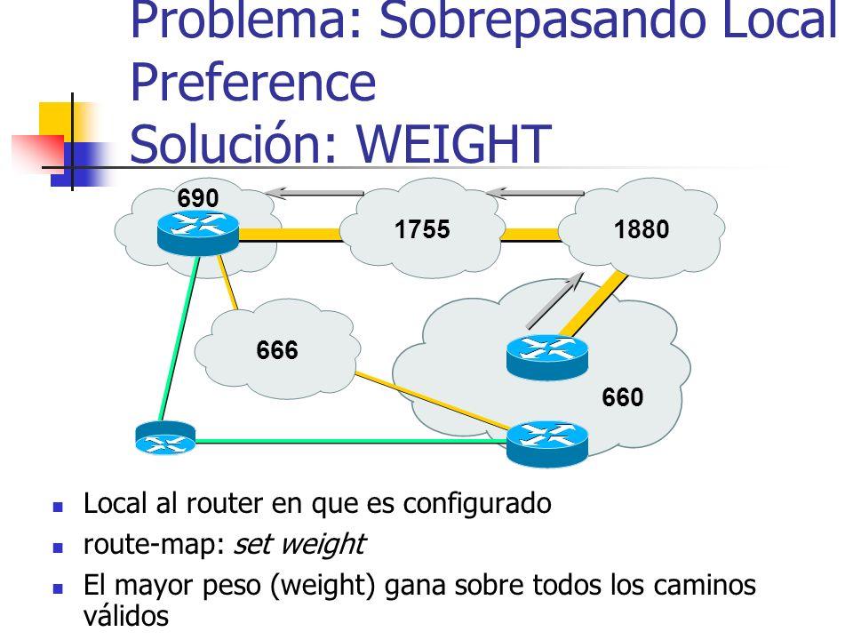 Problema: Sobrepasando Local Preference Solución: WEIGHT
