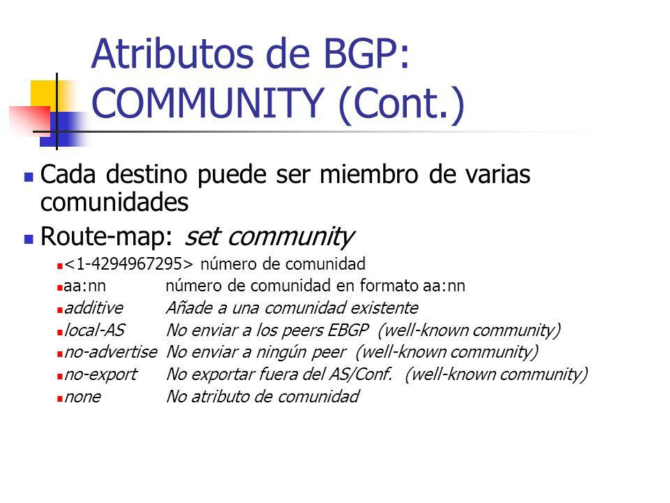 Atributos de BGP: COMMUNITY (Cont.)