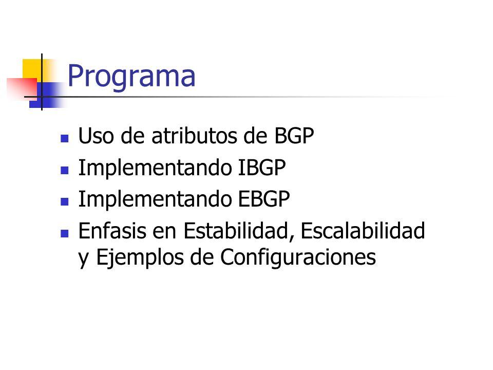 Programa Uso de atributos de BGP Implementando IBGP Implementando EBGP