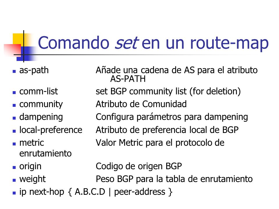 Comando set en un route-map