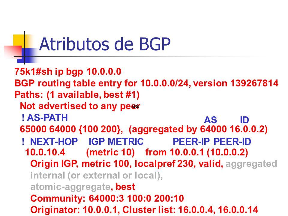 Atributos de BGP 75k1#sh ip bgp 10.0.0.0