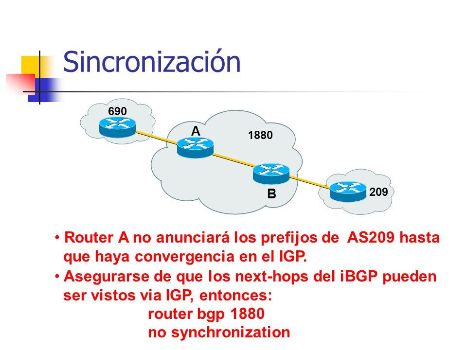 Sincronización Router A no anunciará los prefijos de AS209 hasta