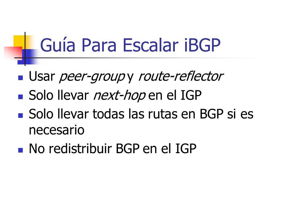 Guía Para Escalar iBGP Usar peer-group y route-reflector