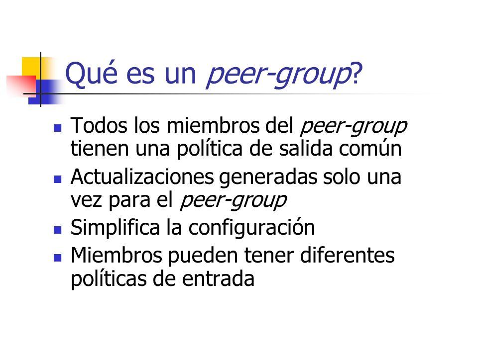 Qué es un peer-group Todos los miembros del peer-group tienen una política de salida común.