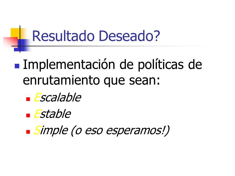 Resultado Deseado. Implementación de políticas de enrutamiento que sean: Escalable.