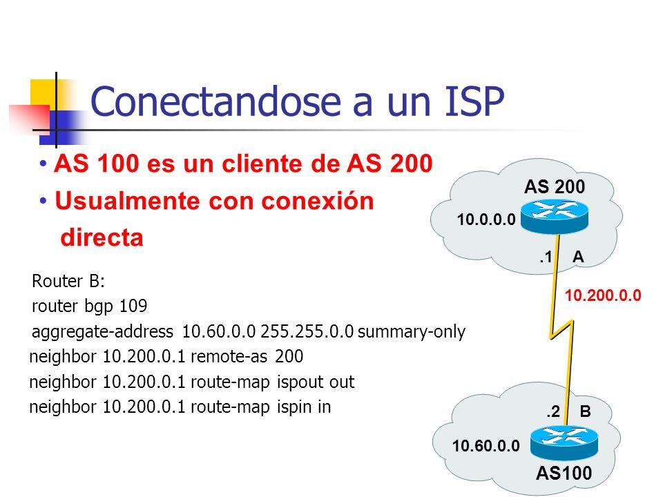 Conectandose a un ISP AS 100 es un cliente de AS 200