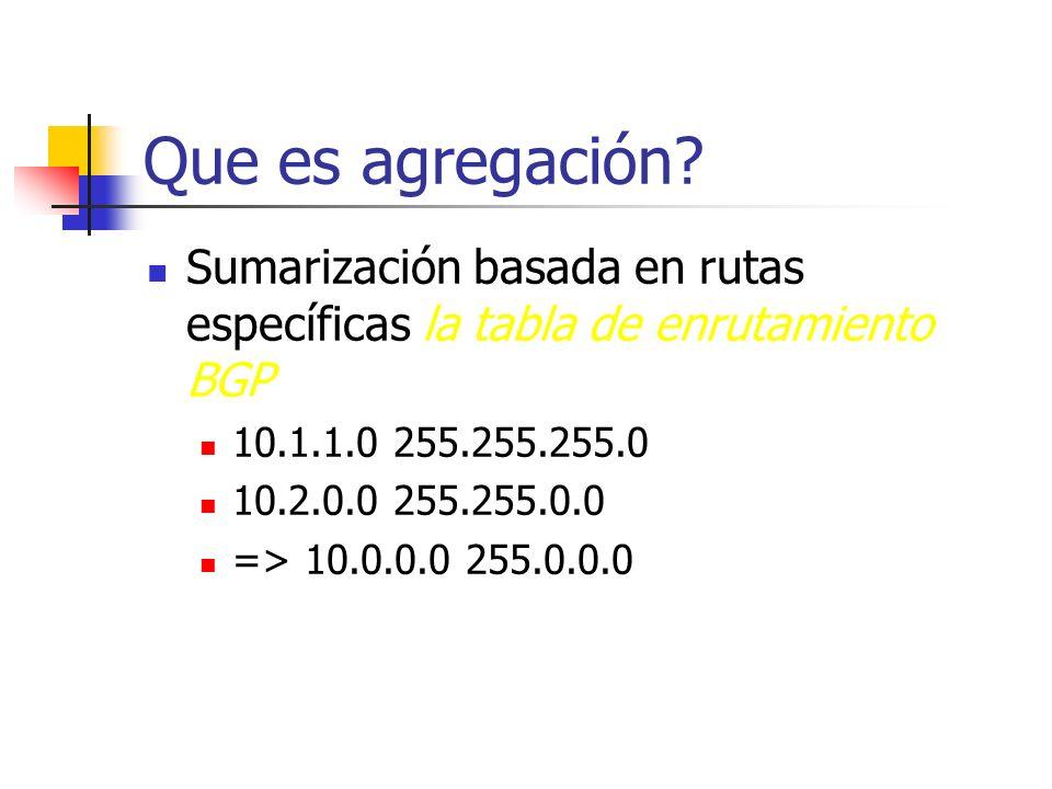 Que es agregación Sumarización basada en rutas específicas la tabla de enrutamiento BGP. 10.1.1.0 255.255.255.0.
