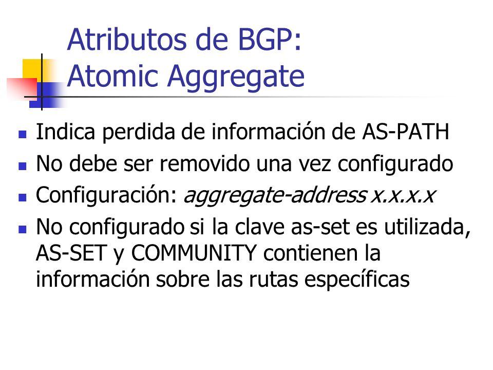 Atributos de BGP: Atomic Aggregate