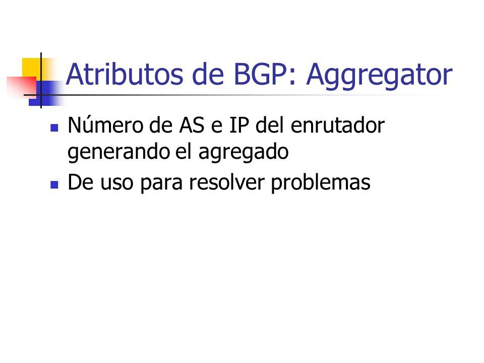 Atributos de BGP: Aggregator