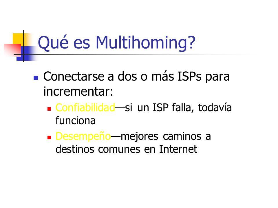 Qué es Multihoming Conectarse a dos o más ISPs para incrementar: