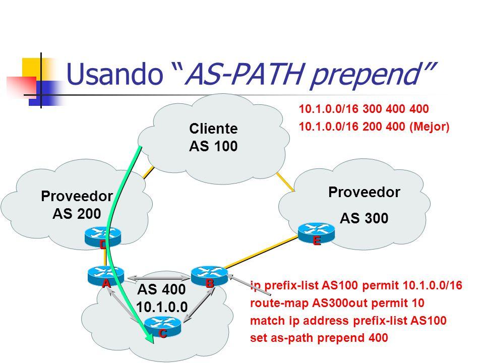 Usando AS-PATH prepend