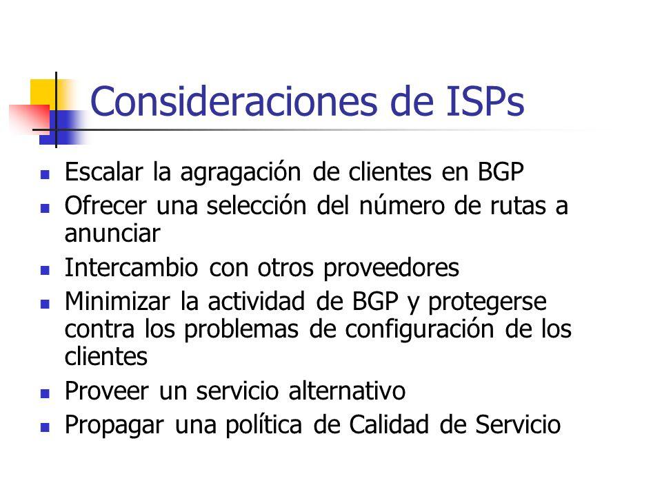Consideraciones de ISPs