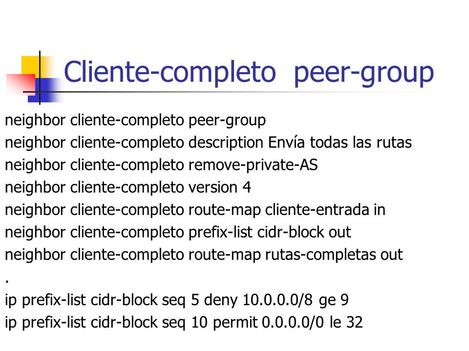 Cliente-completo peer-group