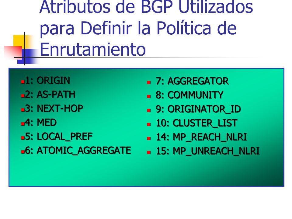 Atributos de BGP Utilizados para Definir la Política de Enrutamiento