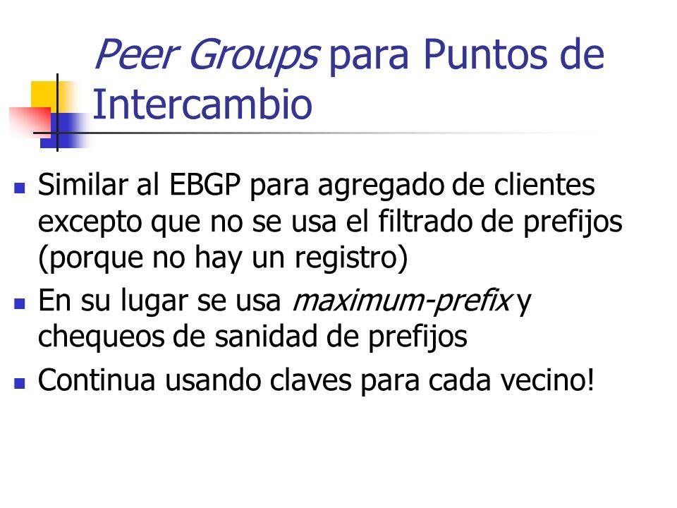 Peer Groups para Puntos de Intercambio