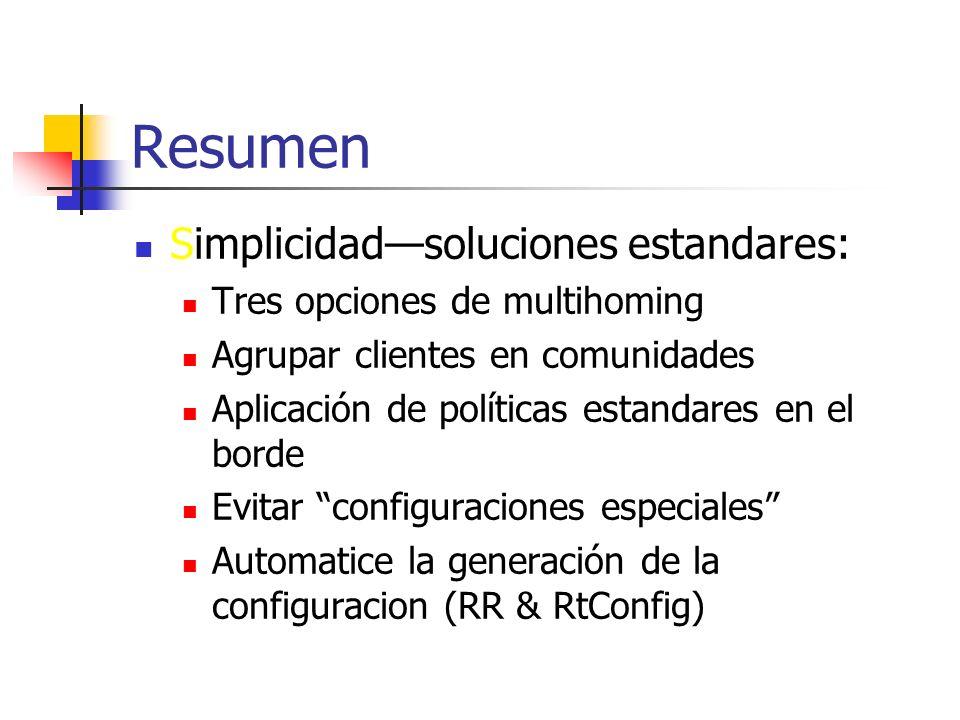 Resumen Simplicidad—soluciones estandares: