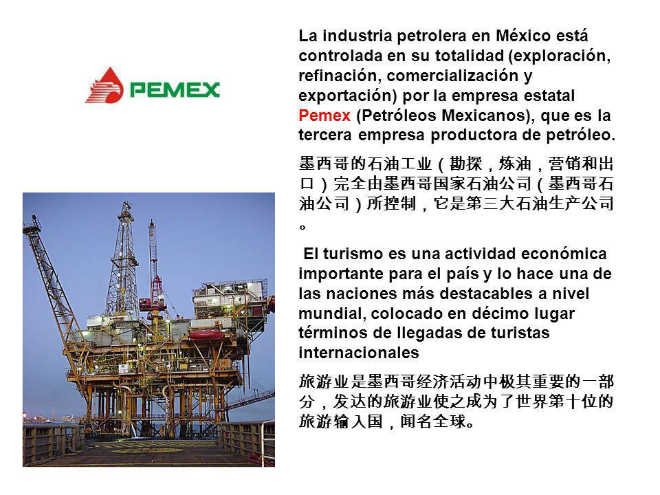 La industria petrolera en México está controlada en su totalidad (exploración, refinación, comercialización y exportación) por la empresa estatal Pemex (Petróleos Mexicanos), que es la tercera empresa productora de petróleo.