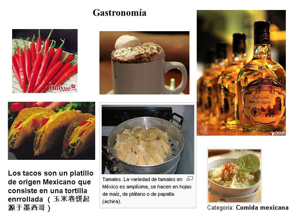 GastronomíaLos tacos son un platillo de origen Mexicano que consiste en una tortilla enrrollada (玉米卷饼起源于墨西哥)