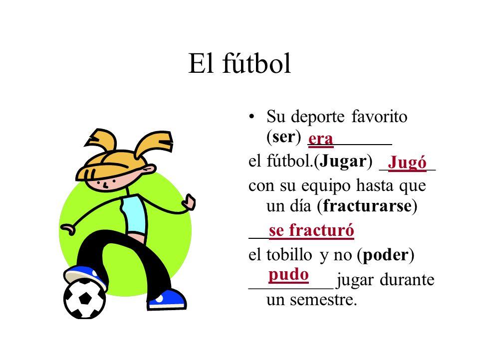 El fútbol Su deporte favorito (ser) el fútbol.(Jugar) ______