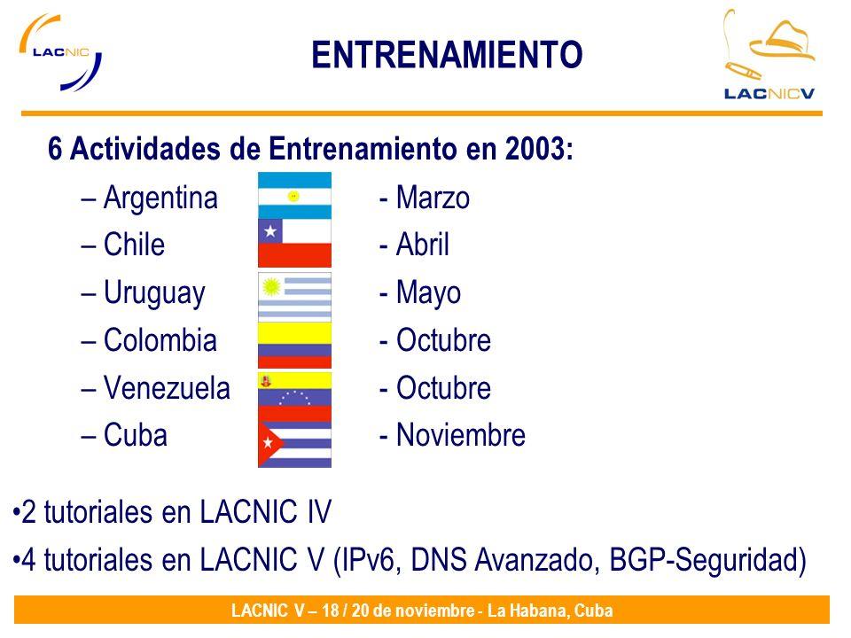 6 Actividades de Entrenamiento en 2003: