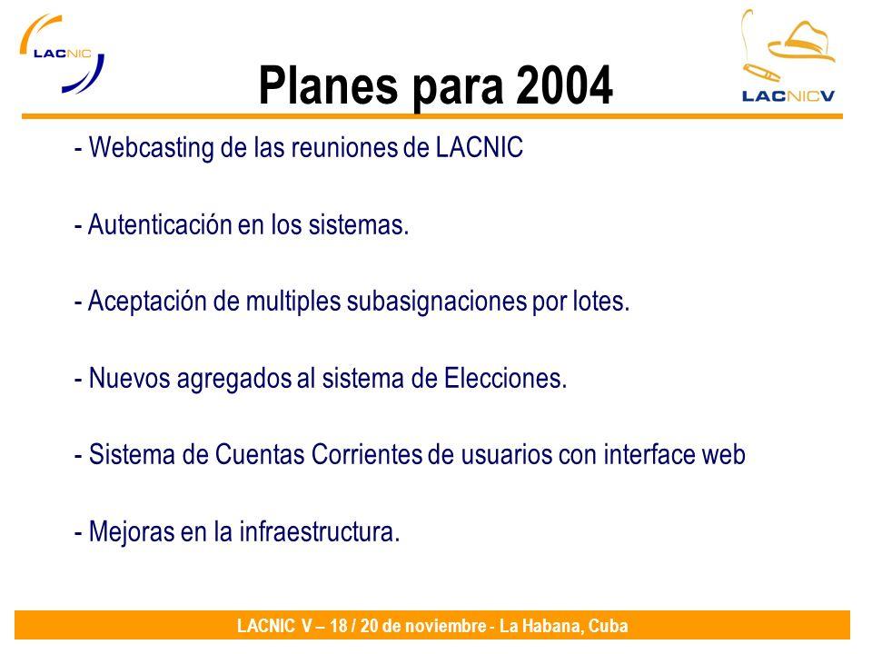 Planes para 2004 Webcasting de las reuniones de LACNIC
