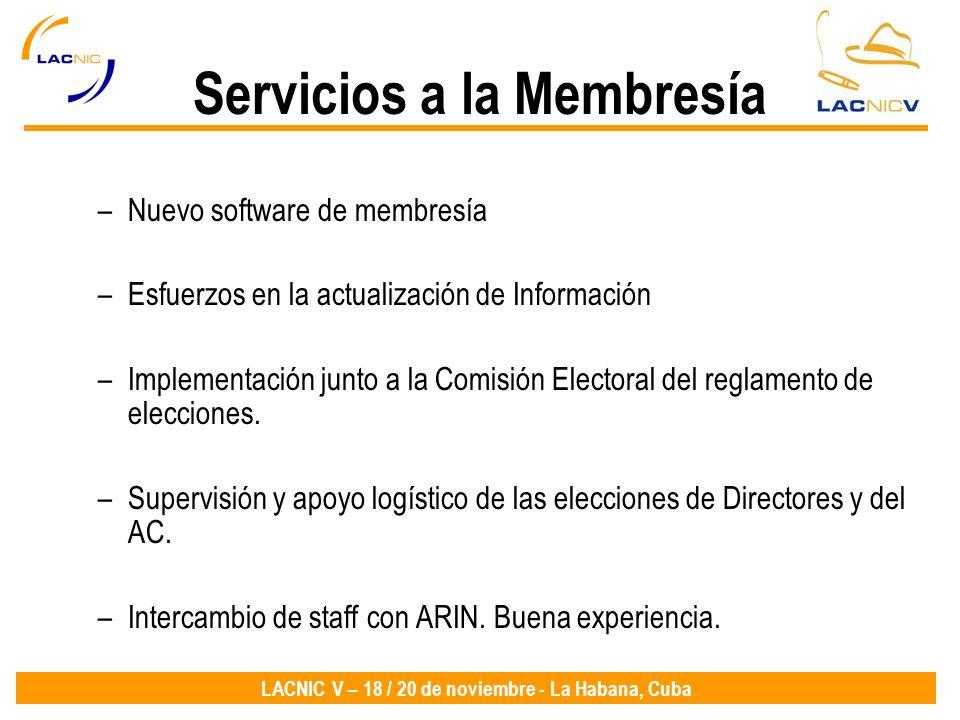 Servicios a la Membresía