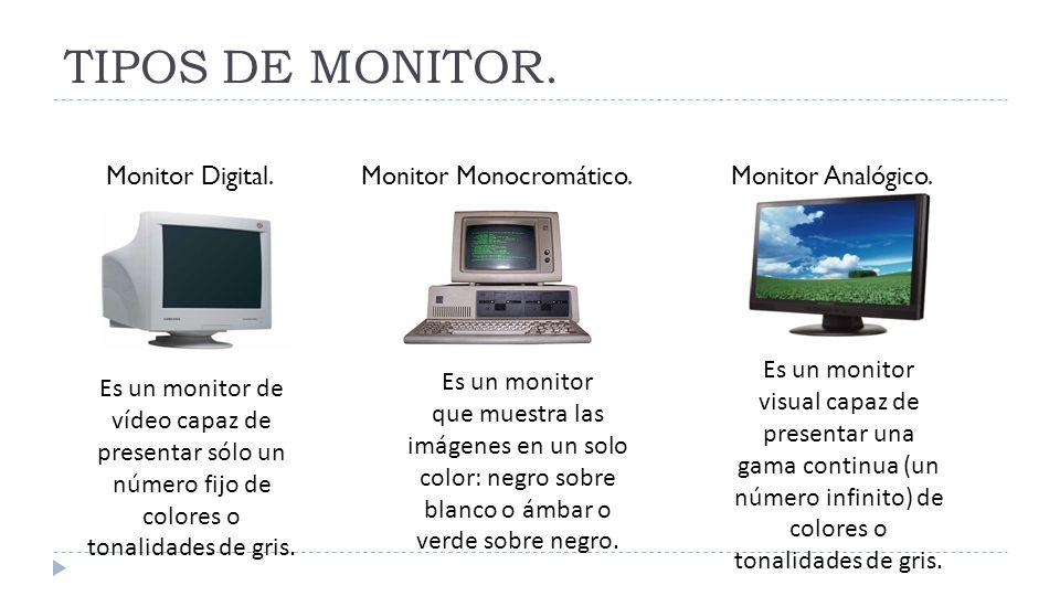 TIPOS DE MONITOR. Monitor Digital. Monitor Monocromático.