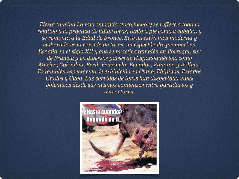 Fiesta taurina La tauromaquia (toro,luchar) se refiere a todo lo relativo a la práctica de lidiar toros, tanto a pie como a caballo, y se remonta a la Edad de Bronce.