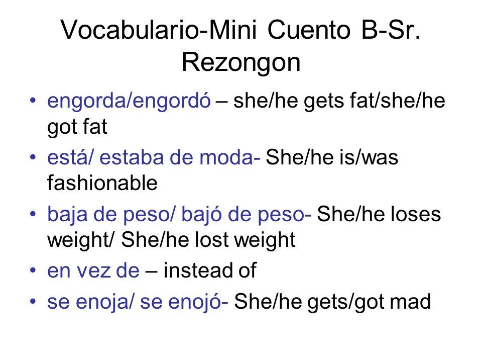 Vocabulario-Mini Cuento B-Sr. Rezongon
