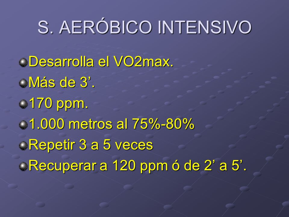 S. AERÓBICO INTENSIVO Desarrolla el VO2max. Más de 3'. 170 ppm.