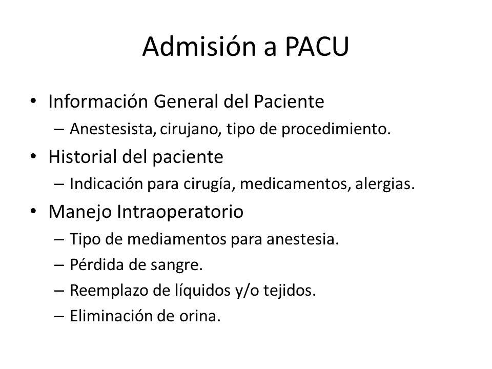Admisión a PACU Información General del Paciente