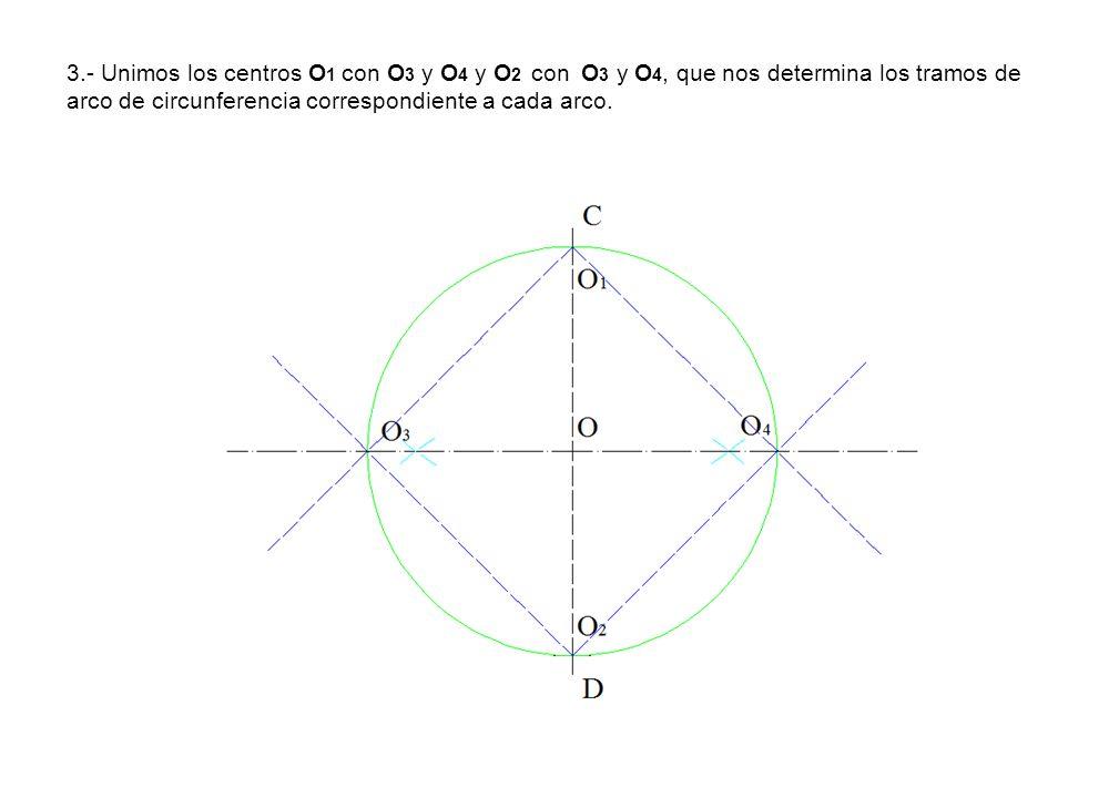 3.- Unimos los centros O1 con O3 y O4 y O2 con O3 y O4, que nos determina los tramos de arco de circunferencia correspondiente a cada arco.