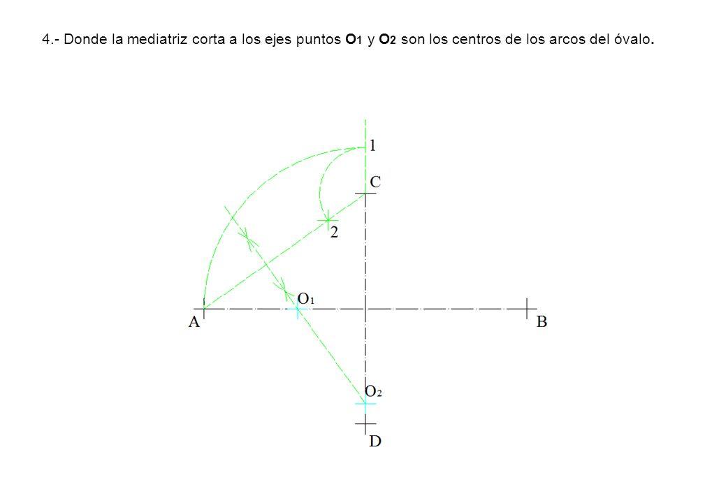 4.- Donde la mediatriz corta a los ejes puntos O1 y O2 son los centros de los arcos del óvalo.