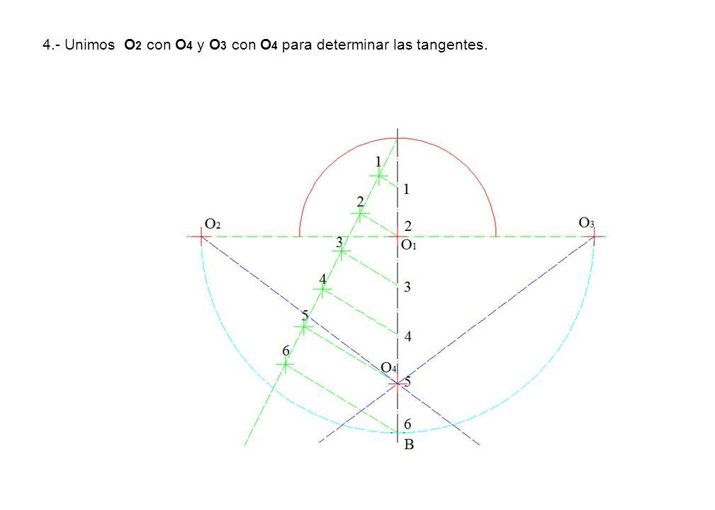 4.- Unimos O2 con O4 y O3 con O4 para determinar las tangentes.