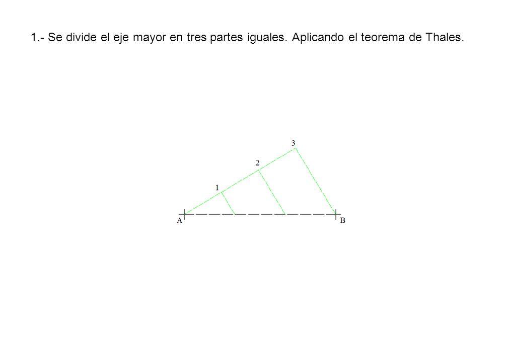 1. - Se divide el eje mayor en tres partes iguales