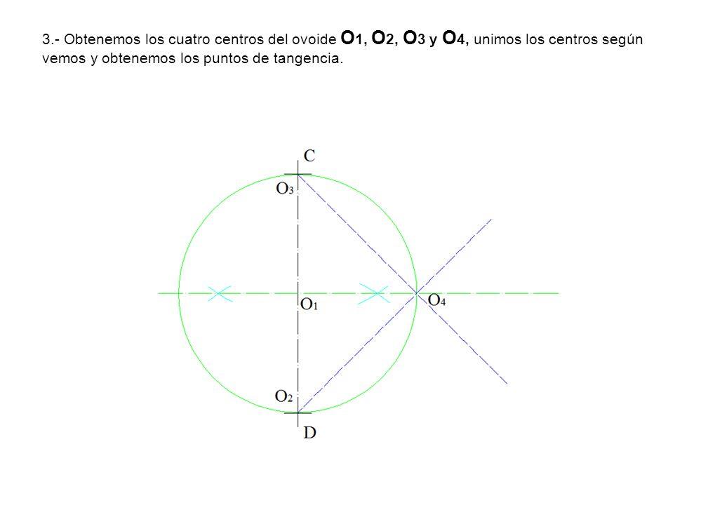 3.- Obtenemos los cuatro centros del ovoide O1, O2, O3 y O4, unimos los centros según vemos y obtenemos los puntos de tangencia.