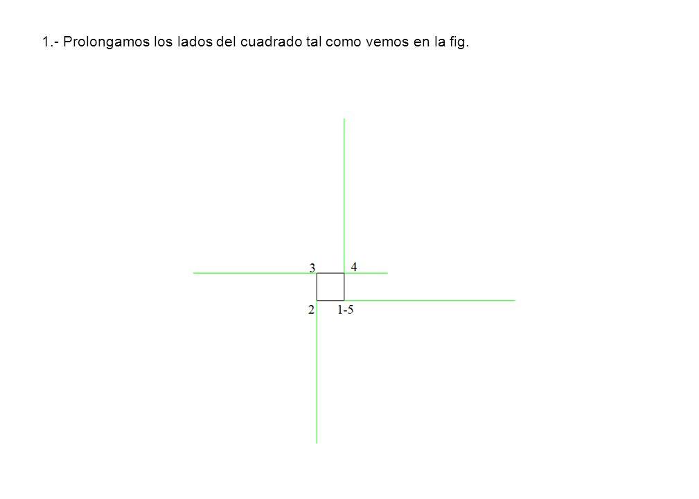 1.- Prolongamos los lados del cuadrado tal como vemos en la fig.