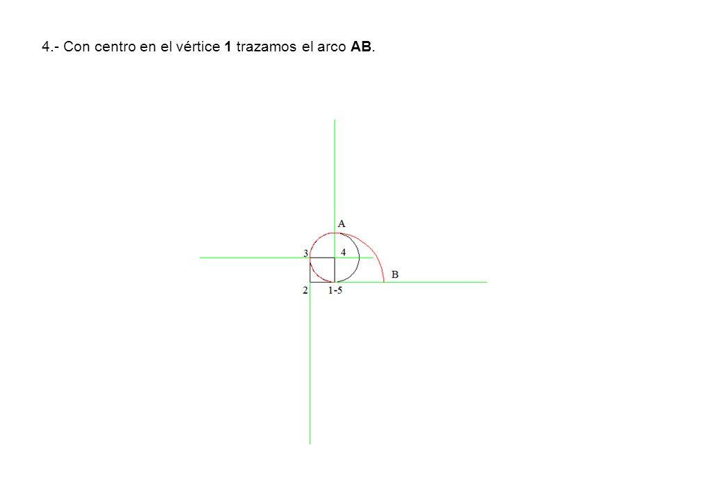 4.- Con centro en el vértice 1 trazamos el arco AB.