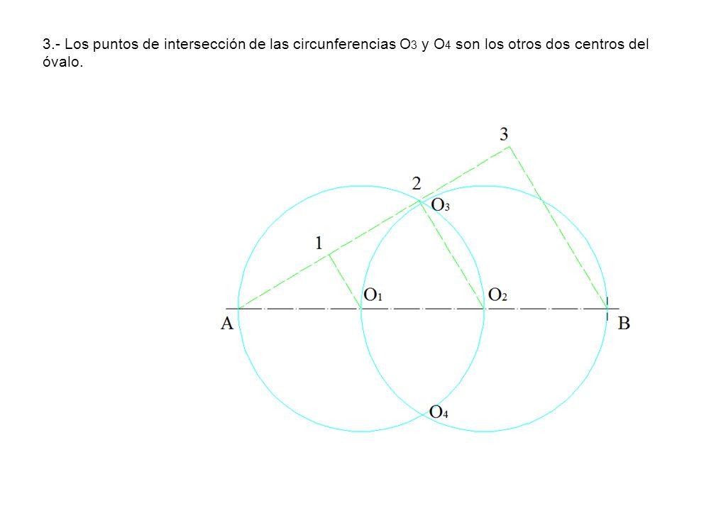 3.- Los puntos de intersección de las circunferencias O3 y O4 son los otros dos centros del óvalo.