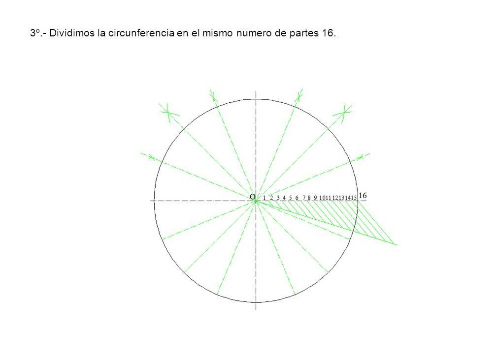 3º.- Dividimos la circunferencia en el mismo numero de partes 16.