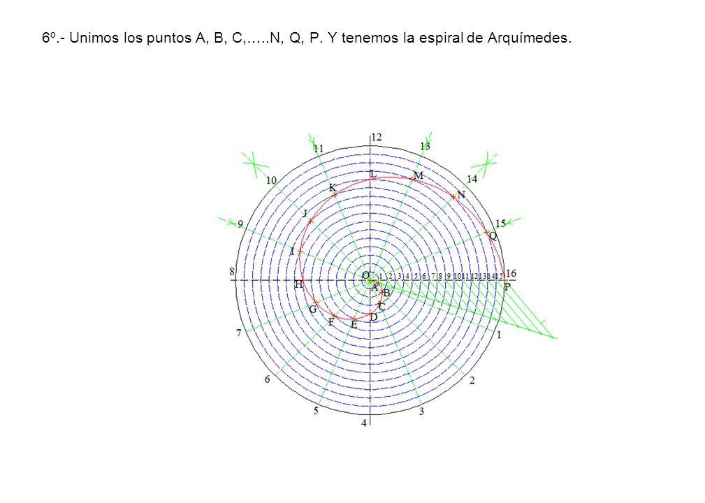 6º. - Unimos los puntos A, B, C,…. N, Q, P