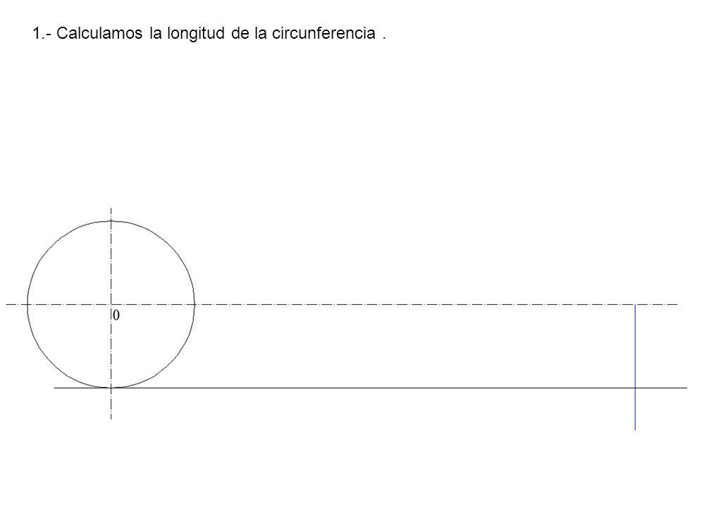 1.- Calculamos la longitud de la circunferencia .