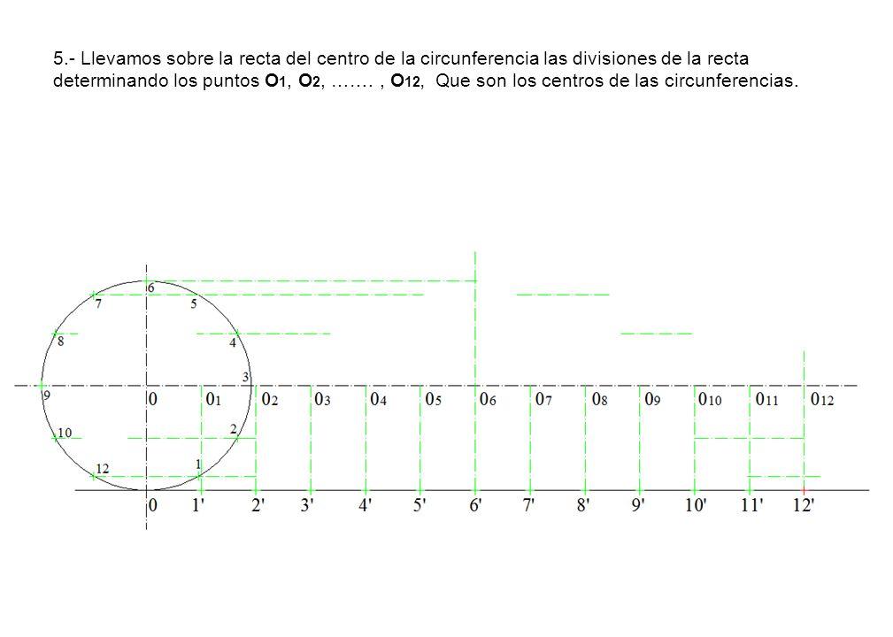 5.- Llevamos sobre la recta del centro de la circunferencia las divisiones de la recta determinando los puntos O1, O2, …….