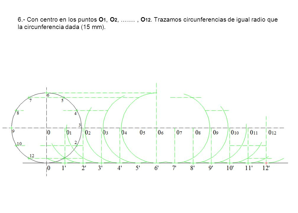 6. - Con centro en los puntos O1, O2, ……. , O12