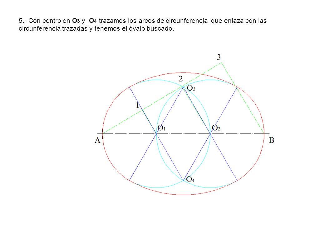 5.- Con centro en O3 y O4 trazamos los arcos de circunferencia que enlaza con las circunferencia trazadas y tenemos el óvalo buscado.