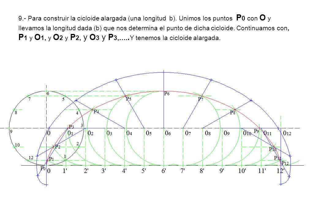 9. - Para construir la cicloide alargada (una longitud b)