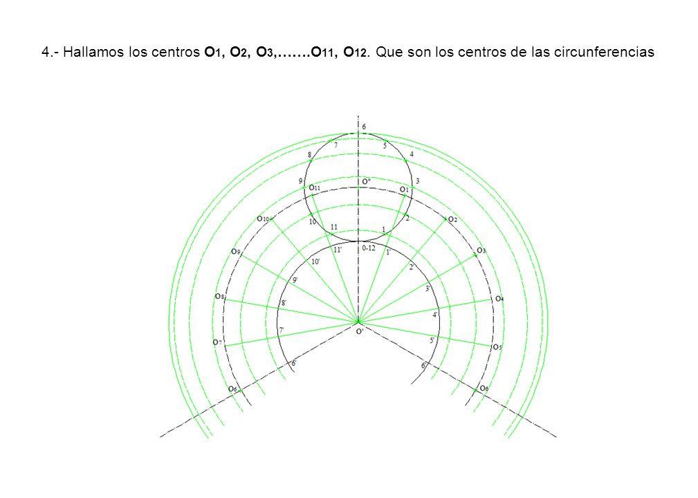 4. - Hallamos los centros O1, O2, O3,……. O11, O12