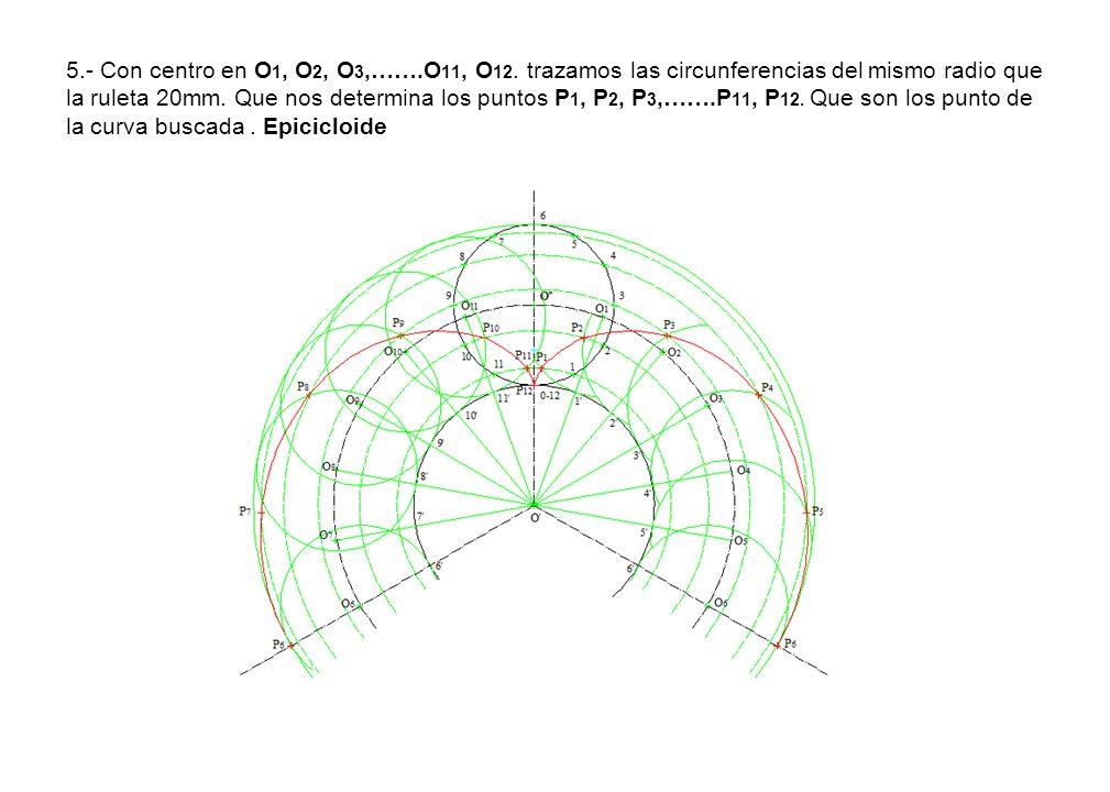 5.- Con centro en O1, O2, O3,…….O11, O12.